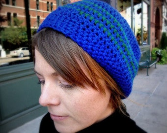 Crochet Slouchy Beanie in Cobalt Blue with Green Stripes - slouchy beanie for men - slouchy beanie for women - winter hats