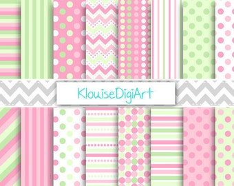 Strawberry Pink and Green Printable Digital Paper Pack with Stripes, Chevrons and Polka Dots for Personal and Small Commercial Use (0033)