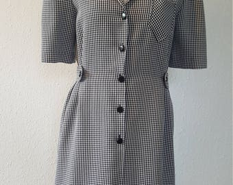 1980s St Michael dress•vintage dress•1980s fashion•black & white dress•checkered dress•wiggle dress•secretary•1950s style•UK 12/14•US 10/12