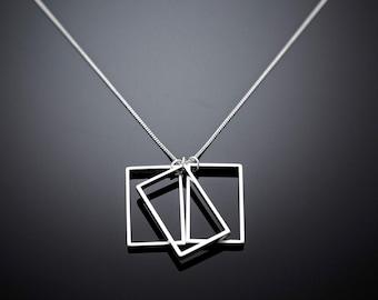 Rectangular Necklace, Unique Everyday Necklace, Long Rhodium Necklace, Dainty Modern Necklace, Simple Geometric Necklace, Fashion Necklace