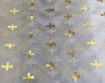 Satin Foil Gold Cross Design (White/Silver) (60 in.) Sold By The Yard