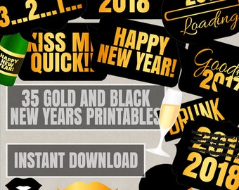 Black and Gold New Years Printable Photo Booth Props, 2018 New years party photobooth props, diy photobooth props for new years prop prints