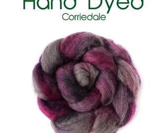 Hand Dyed Natural Grey Corriedale - 100g/3.5oz - grey - purple - pink
