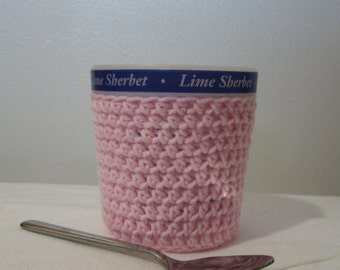 Ice Cream Cozy Pint Cover - Pink Cotton Cup Cozy - Ready To Ship!