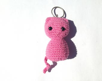 Keychain cat pink crochet
