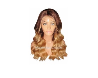 """Ready to Ship! Moklox 100% Remy Human Hair Front Lace Wig 20"""" Long Medium Brown 4 Blonde 27 Ombre Balayage Wavy Wave Body Curly 180 Density"""