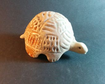 Mothers Day Gift, ready to ship, Hand Shaped Turtle Figurine, Small ceramic turtle, miniature pottery animal