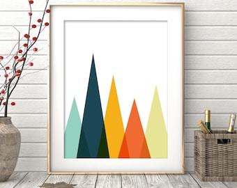 Triangles Print, Digital Download, Geometric Print, Mountains Print, Wall Art Print, Minimalist Abstract Art, Nordic Design, Abstract Poster