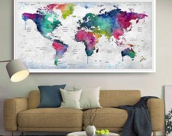 world map wall art world map print world map decor world map poster