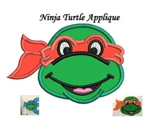 Ninja Turtle Applique Embroidery Design - 3 design sizes  - Mutant Ninja INSTANT DOWNLOAD