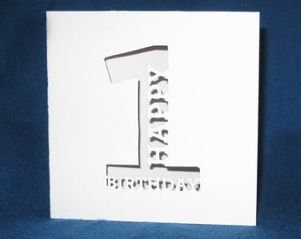 Custom Birthday Number Card, Happy Birthday, Hand Cut Card