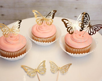 Cupcake Toppers - Gold Foil Cupcake Toppers - Butterfly Cupcake Toppers -  Cupcake Toppers - Cupcakes - Butterflies - Foil - Butterfly Party