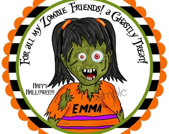 Zombie Girl Halloween Stickers,Girls Halloween Stickers,Monster Halloween Stickers,Halloween labels,Treat Stickers, party favor labels