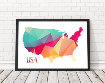 Line Art Usa Map : United states map digital download travel usa