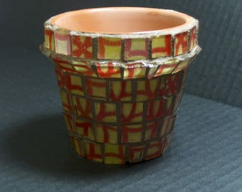 Mini Mosaic Pot in Yellow and Red