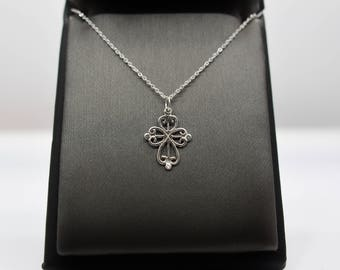 Sterling Silver Small Fancy Cross Pendant Necklace