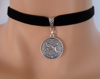 velvet choker, aries choker, aries necklace, stretch ribbon, black velvet, zodiac