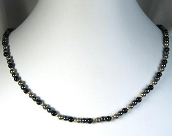 "Black Onyx, Hematite and Iron Pyrite Necklace Gold 18"""
