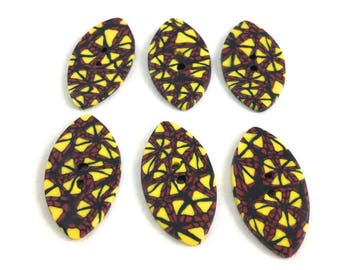 Large sewing buttons set of six football shape red yellow black clay