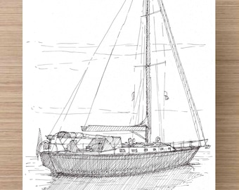 Ink Drawing of Sailboat in Marina at Hilton Head, South Carolina - Drawing, Art, Architecture, Sketch, Water, Pen and Ink, 5x7, 8x10, Print
