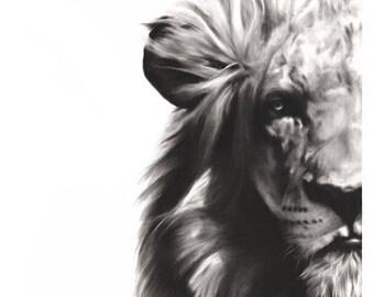 LION ART PRINT - lion decor, wildlife art print, modern animal art print, lion wall art, lion lover gift, lion print, lion oil painting