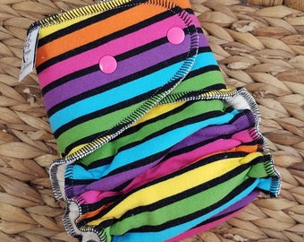 CLOTH DIAPER One Size (11-35#) Bamboo Fitted Diaper,rainbow stripe,rainbow diaper.Yarn Dyed Stripes,Rainbow,Black,rainbow baby,rainbow theme