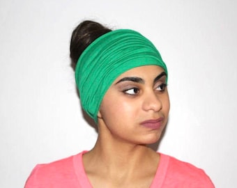 Kelly Green Headband, Extra Wide Jersey Headband, Yoga Headband, Running Headband, Workout Headband, Fitness Headband, Turban Headband