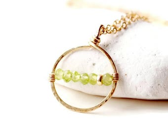 Peridot charm necklace, August birthstone gift. Gold filled necklace with genuine Peridot. Birthstone jewelry gifts. Birthday gifts for her.