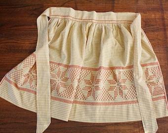Gingham Check Vintage Half Apron Cross Stitch Harvest Gold Red