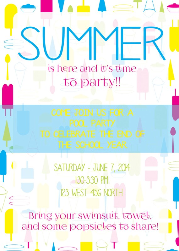 Items similar to end of the school year party invitation popsicles items similar to end of the school year party invitation popsicles on etsy stopboris Choice Image