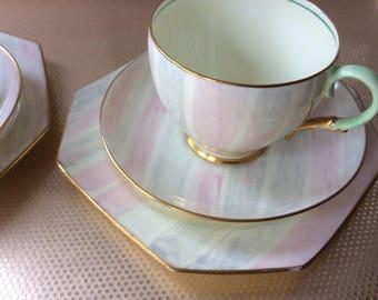 Art Deco bone china tea cup trio
