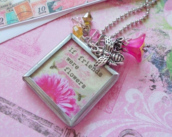 """Silver Charm """"A PRAYFUL FRIEND"""" Necklace and Card """"If Friends Were Flowers"""" Inspirational gift Unique gift Strength for the Journey"""