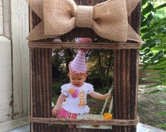 Wood Block Picture Holder, wood picture frame, rustic wood photo holder