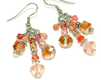 New Lower Price - Spring Peach & Coral Colored Crystal Tassel Statement Earrings