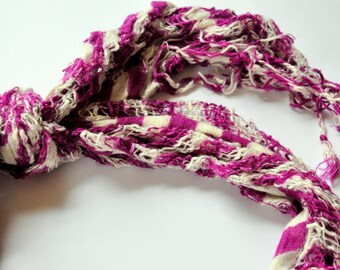 Purple Crocus spring scarf necklace - boho fabric jewelry