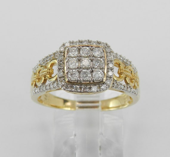 14K Yellow Gold Diamond Engagement Ring Cluster Cocktail Size 7