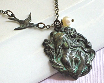 Art Nouveau Lady Necklace - Verdigris Patina Jewelry, Flower, Bird, Pendant