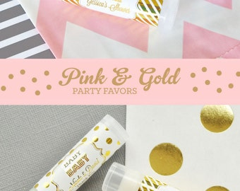 Pink and Gold Party Favors - Pink and Gold Baby Shower Ideas - Personalized Baby Shower Lip Balm Birthday Party Favors (EB3031FB) set of 16|