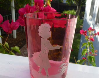 Antique Mary Gregory Cranberry Glass Tumbler