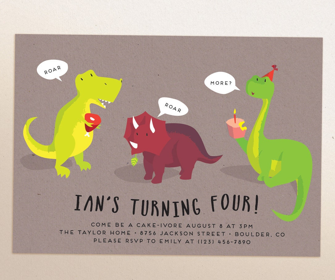 Dinosaur birthday party printable invitation evite zoom kristyandbryce Gallery