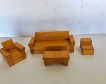 MidCentury Wood Dollhouse Furniture Miniature Family Room couch Chair End Table Coffee Table