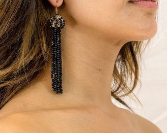 Black Spinel Tassel Earrings - Black Spinel Crochet Earrings - Wire Crochet Jewelry - Tassel Earrings - Statement Earrings - Long Earrings
