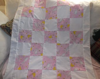 Baby Quilt Top  With Bunnies and Chickens  For Easter? Made in America