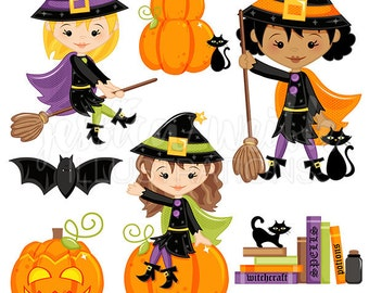 Happy Little Witches - Cute Digital Clipart - Commercial Use OK, Halloween Clip art, Halloween Graphics, Witch Clipart