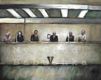 The Bank Clerks, Original Painting, Bank Tellers, Office, Window, Loan Officers, Business, Surreal, Macabre, Help Desk, Dark Art