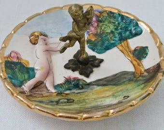 Vintage Capodimonte Italy Porcelain Pin Dish, Rare Capodimonte Porcelain Cherub Pin Dish w/Brass Cherub, Collectible Cherub Pin Dish, Italy