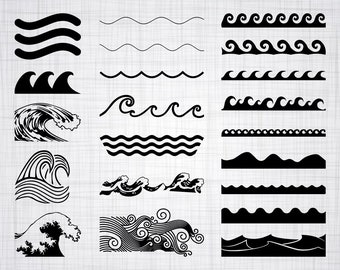 Wave SVG Bundle, Wave SVG, Wave Clipart, Wave Cut Files For Silhouette, Files for Cricut, Wave Vector, Ocean Waves Svg, Dxf, Png, Wave Decal
