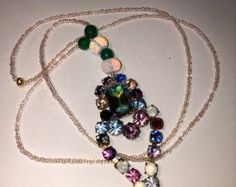 Multi Colored Drop Pendant Necklace