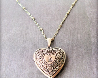 Personalized heart locket necklace silver locket gift PLATED heart with initial Girlfriend gift Photo locket Bridesmaid gift