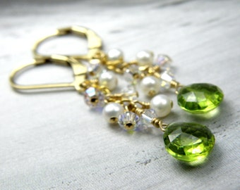 Peridot and Pearl Earrings, Gold Filled, Lime Green Stone, Natural Gemstone, August Birthstone, Birthday Gift, Handmade, Mothers Day Gift